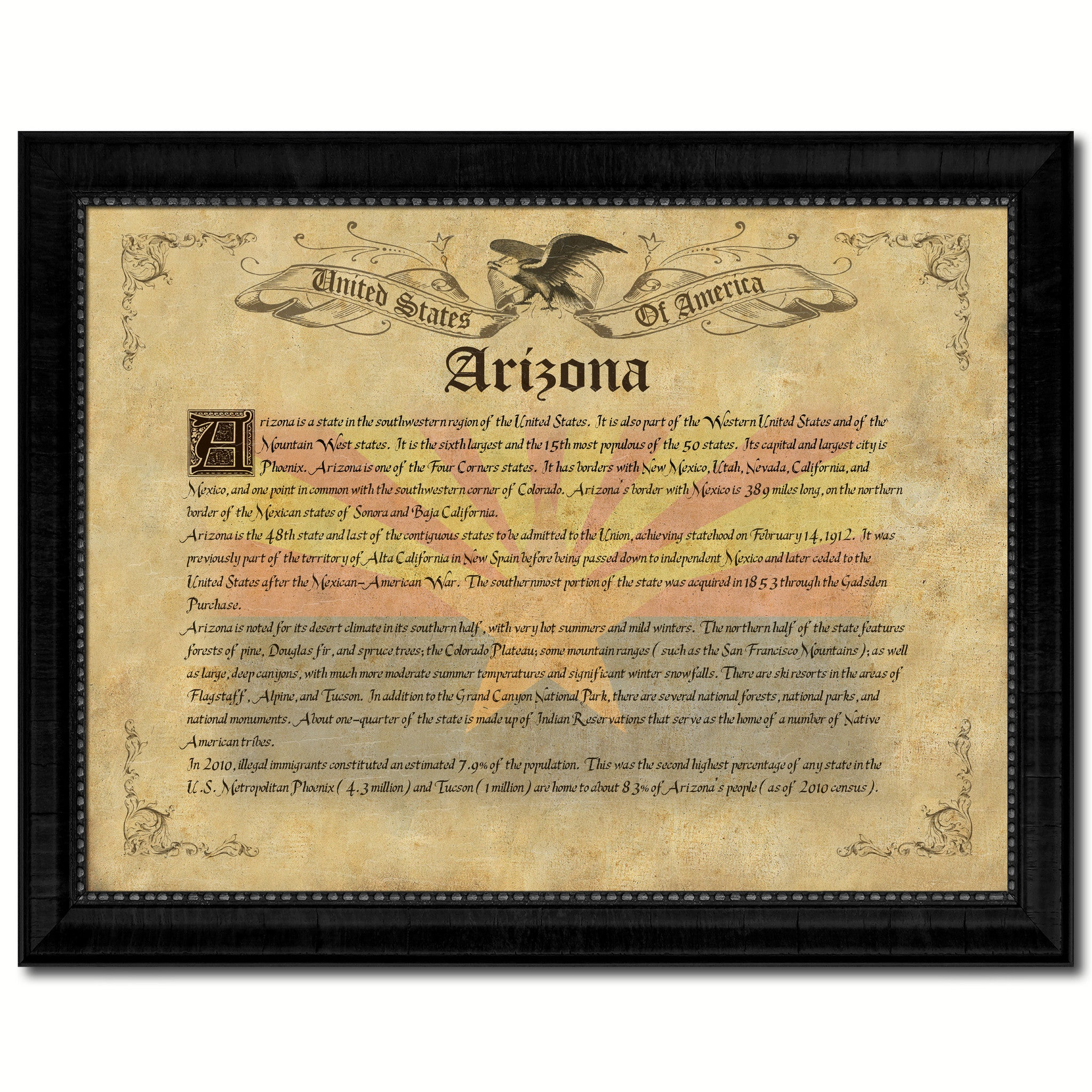 Arizona Vintage History Flag Canvas Print, Picture Frame Gift Ideas Home Décor Wall Art Decoration