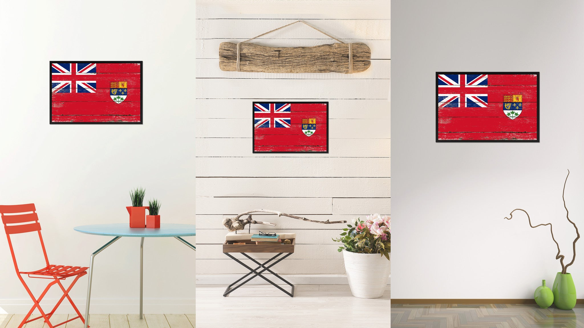 Canadian Red Ensign City Canada Country Flag Vintage Canvas Print With  Black Picture Frame Home Decor