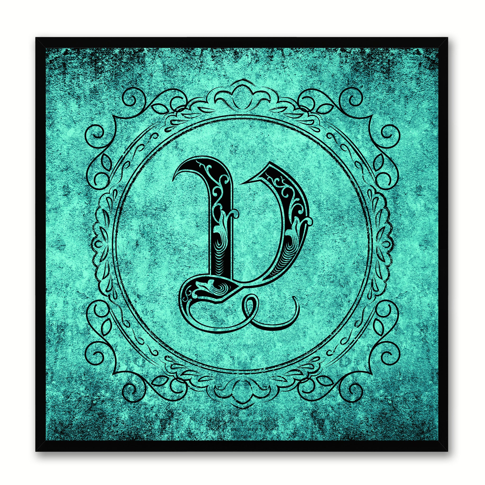Alphabet V Aqua Canvas Print Black Frame Kids Bedroom Wall Décor Home Art
