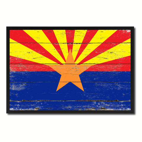 Arizona State Flag Vintage Canvas Print with Black Picture Frame Home DecorWall Art Collectible Decoration Artwork Gifts