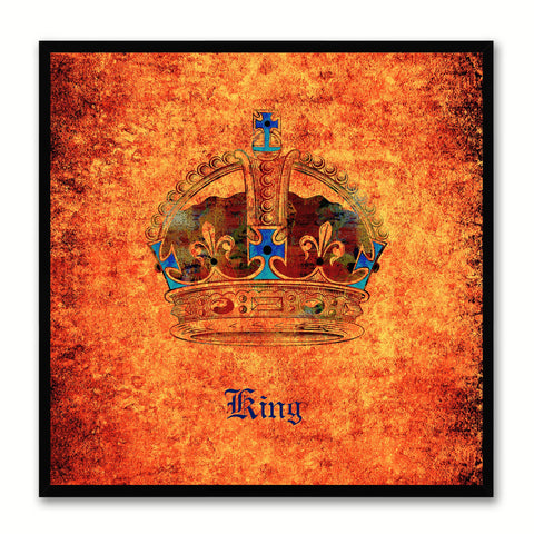 King Orange Canvas Print Black Frame Kids Bedroom Wall Home Décor