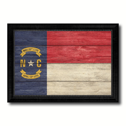 North Carolina State Flag Texture Canvas Print with Black Picture Frame Home Decor Man Cave Wall Art Collectible Decoration Artwork Gifts