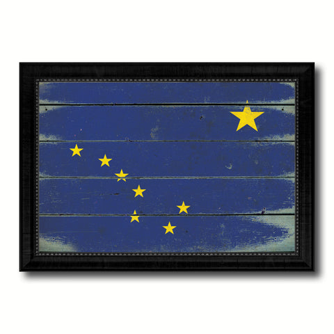 Alaska State Vintage Flag Canvas Print with Black Picture Frame Home Decor Man Cave Wall Art Collectible Decoration Artwork Gifts