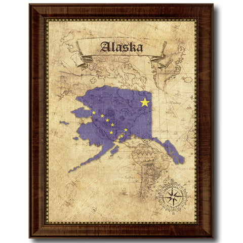 Alaska State Vintage Map Home Decor Wall Art Office Decoration Gift Ideas
