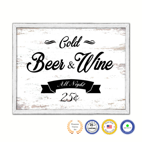 Fresh Beer & Wine Vintage Sign White Canvas Print Home Decor Wall Art Gifts Picture Frames