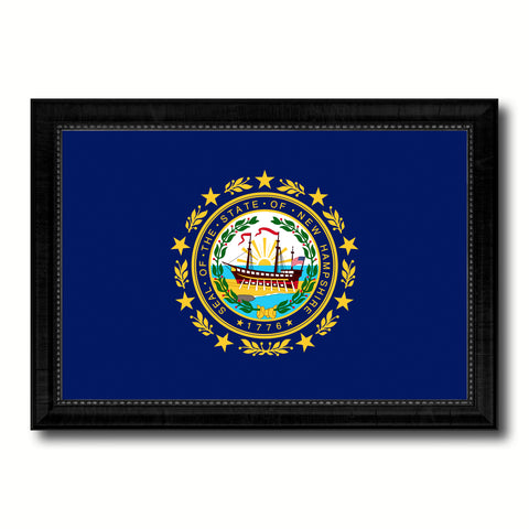 New Hampshire State Flag Canvas Print with Custom Black Picture Frame Home Decor Wall Art Decoration Gifts