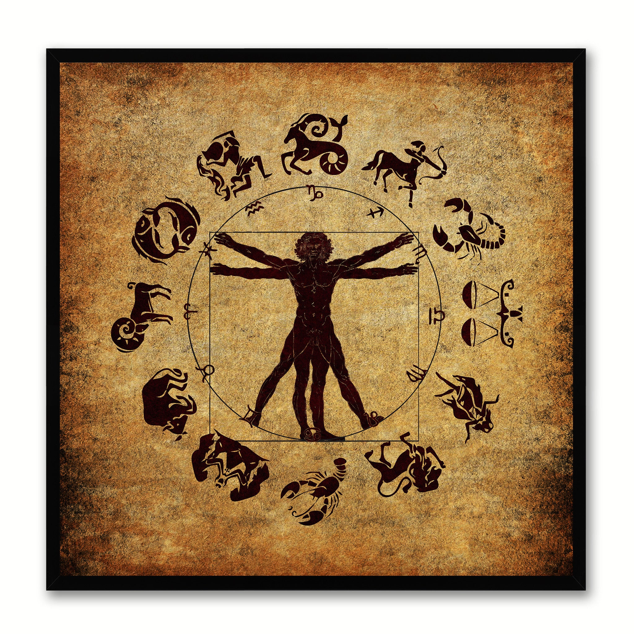 Man Horoscope Canvas Print Black Custom Frame Home Decor Wall Art