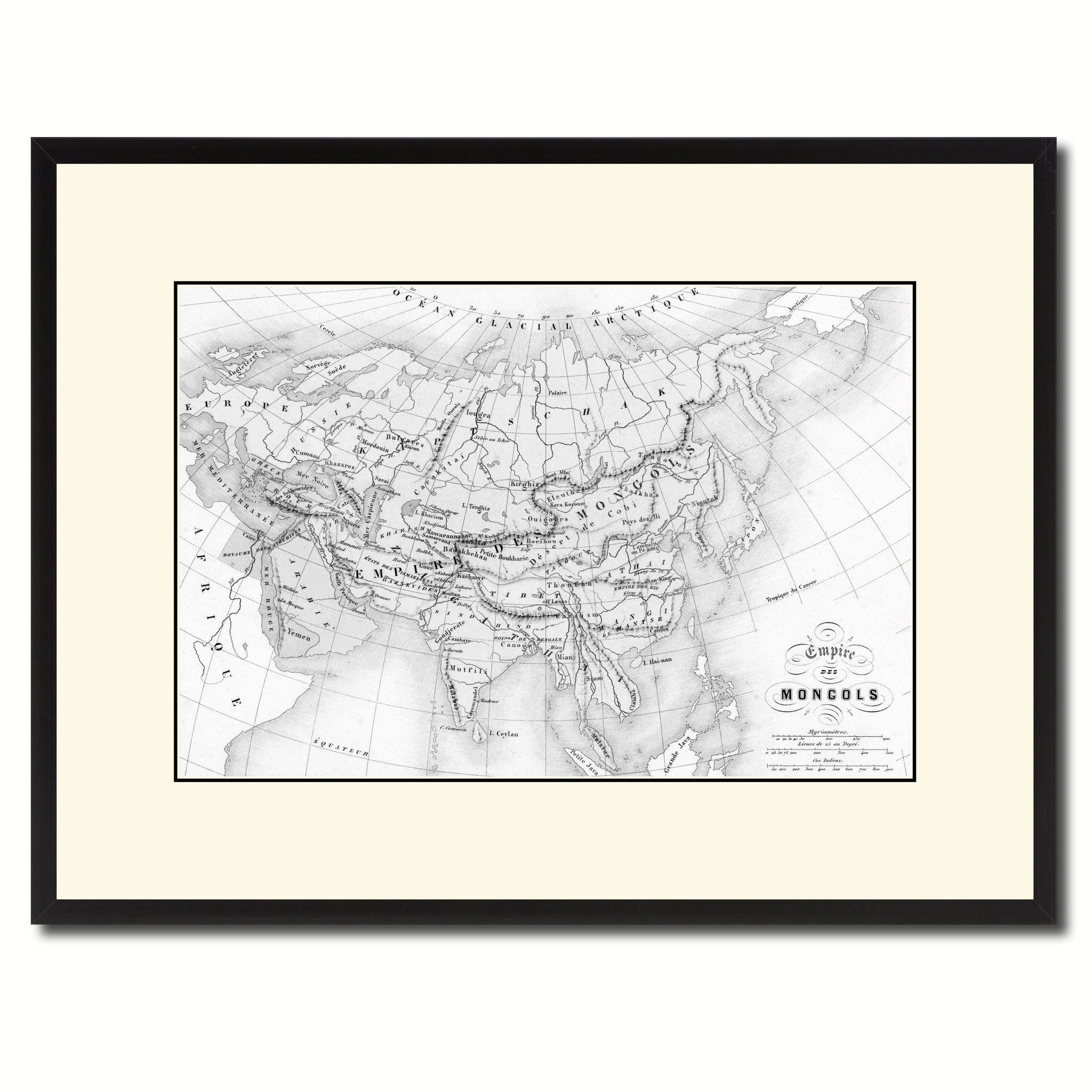 Mongolian Empire Asia Vintage B&W Map Canvas Print, Picture Frame Home Decor Wall Art Gift Ideas