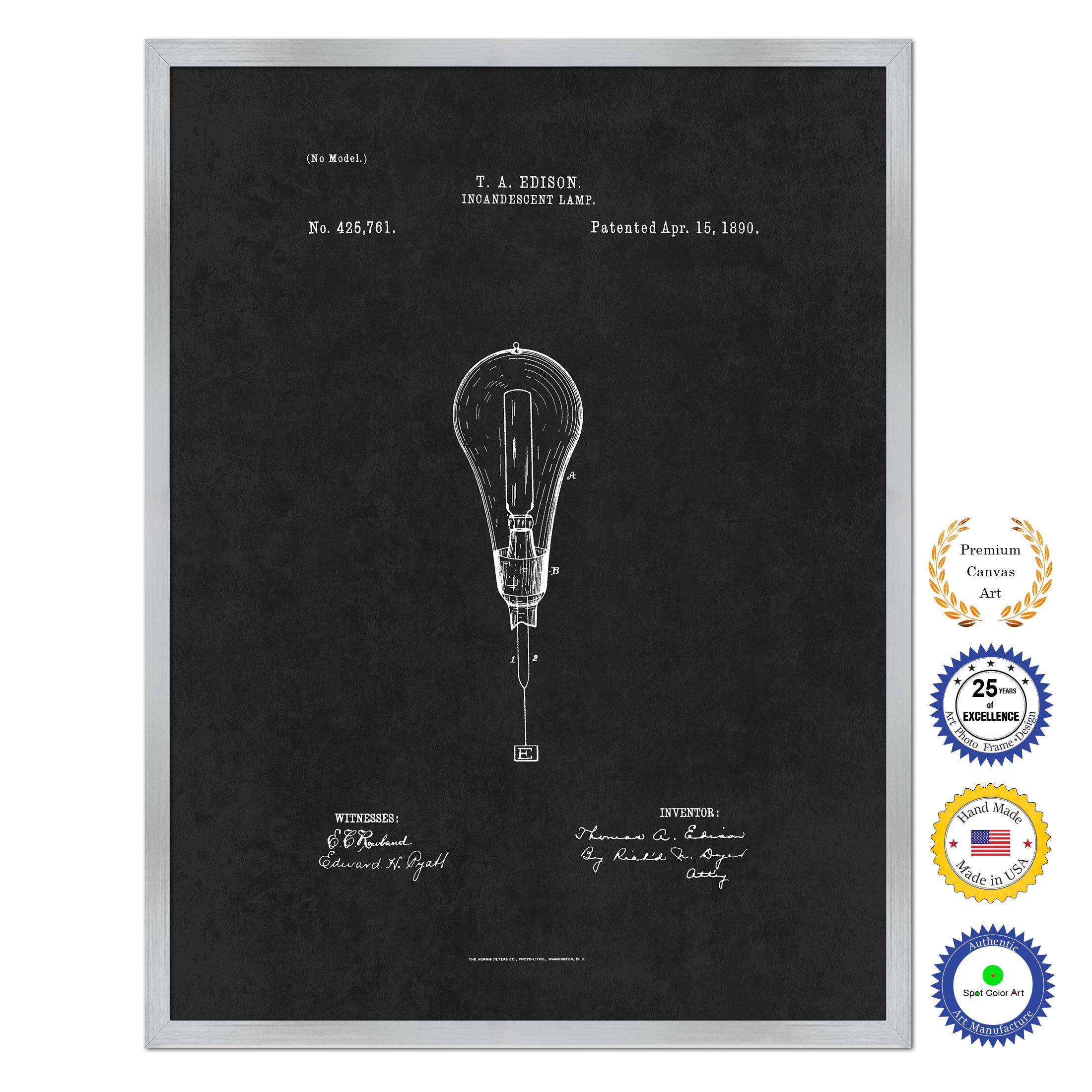 1890 Thomas Edison Incandescent Lamp Antique Patent Artwork Silver Framed Canvas Home Office Decor Great for Thomas Edison Lover Electrician Inventor