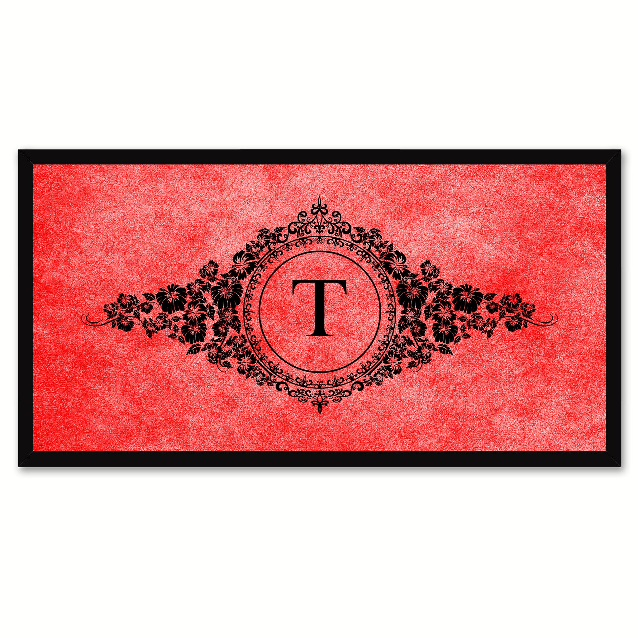 Alphabet Letter T Red Canvas Print, Black Custom Frame