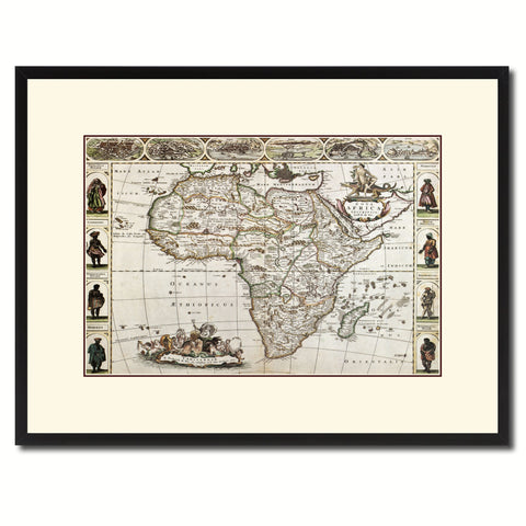 Africa Vintage Antique Map Wall Art Home Decor Gift Ideas Canvas Print Custom Picture Frame