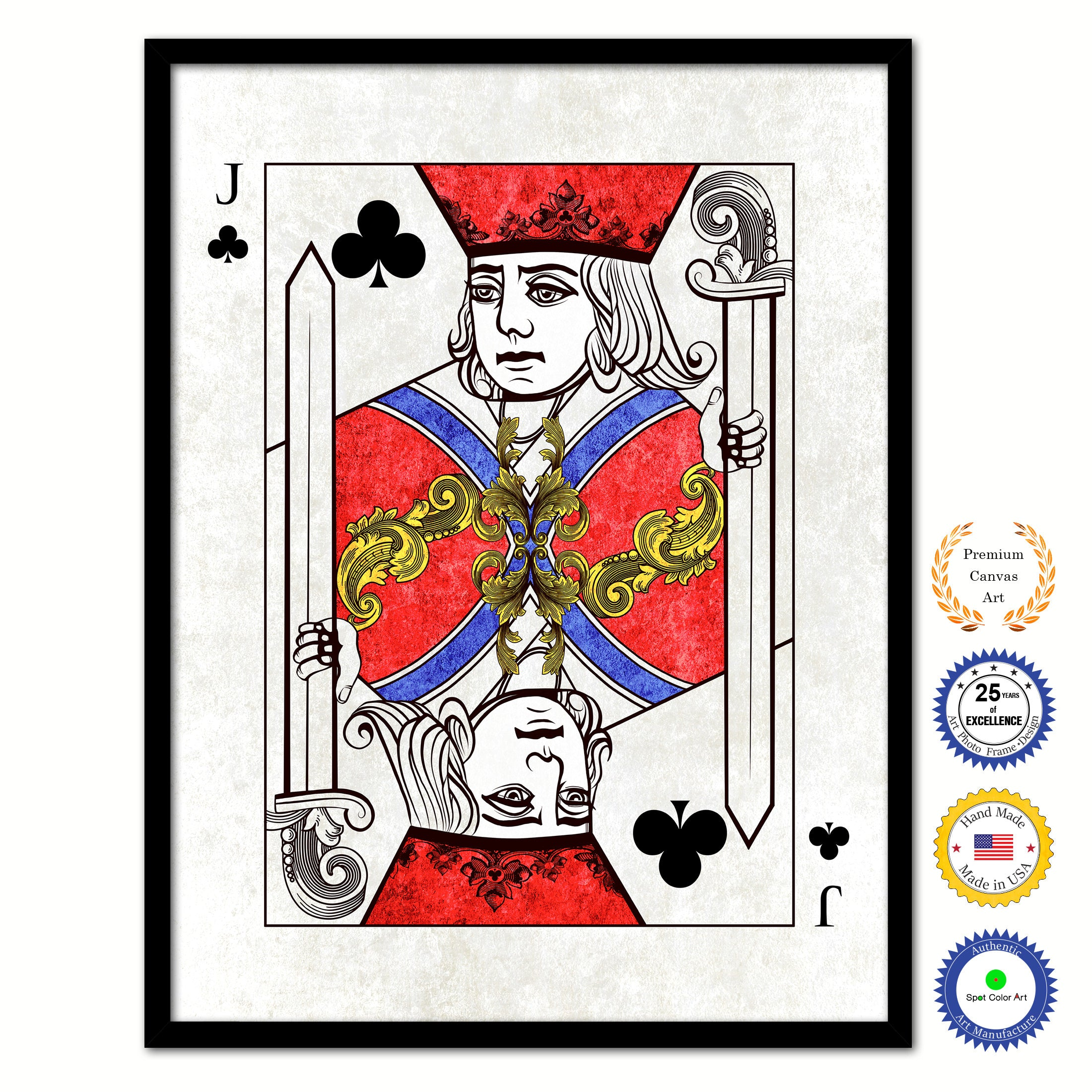 Jack Clover Poker Decks of Vintage Cards Print on Canvas Black Custom Framed