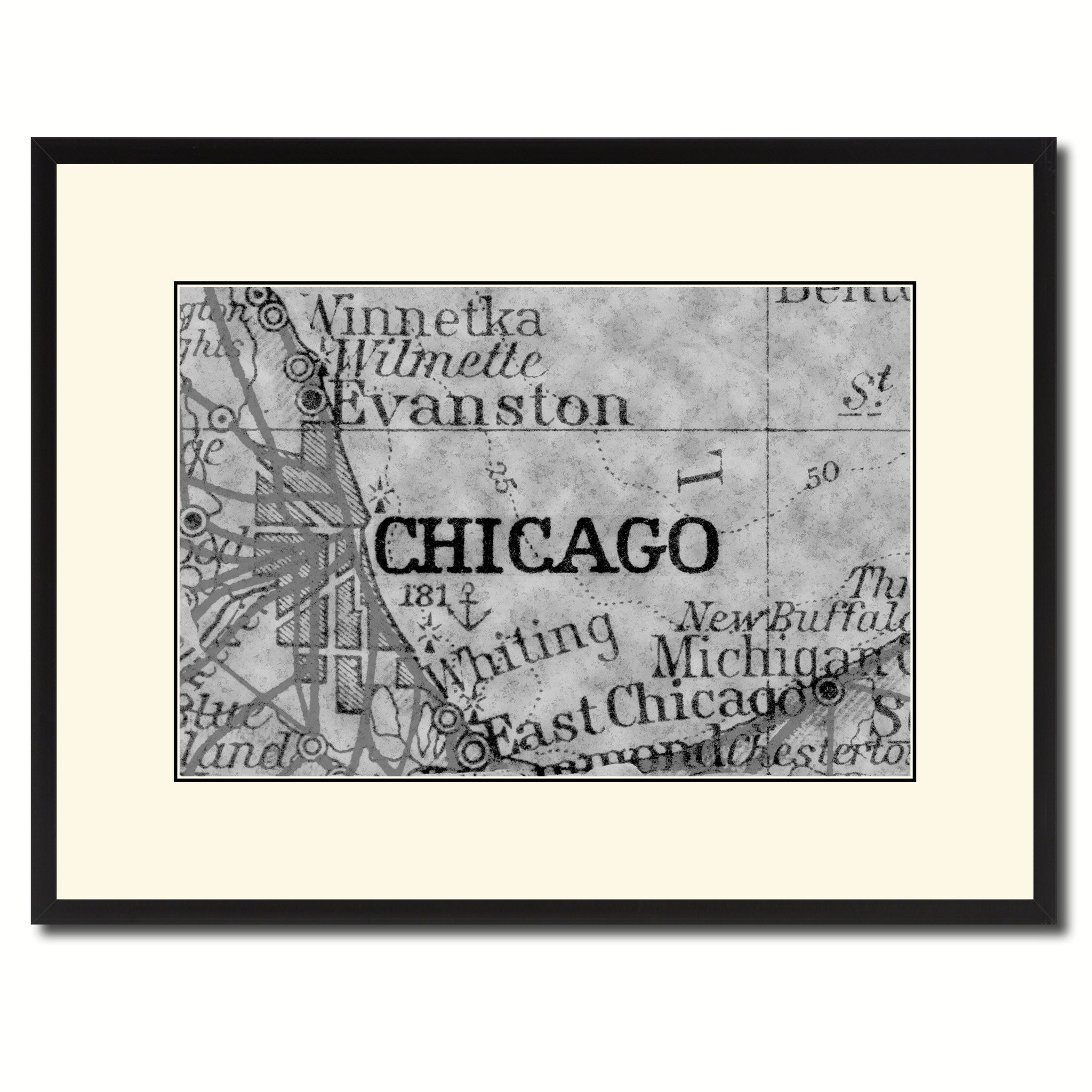 Chicago Illinois Vintage BW Map Home Decor Wall Art Bedroom Liviingroom Housewarming Birthday SpotColorArt
