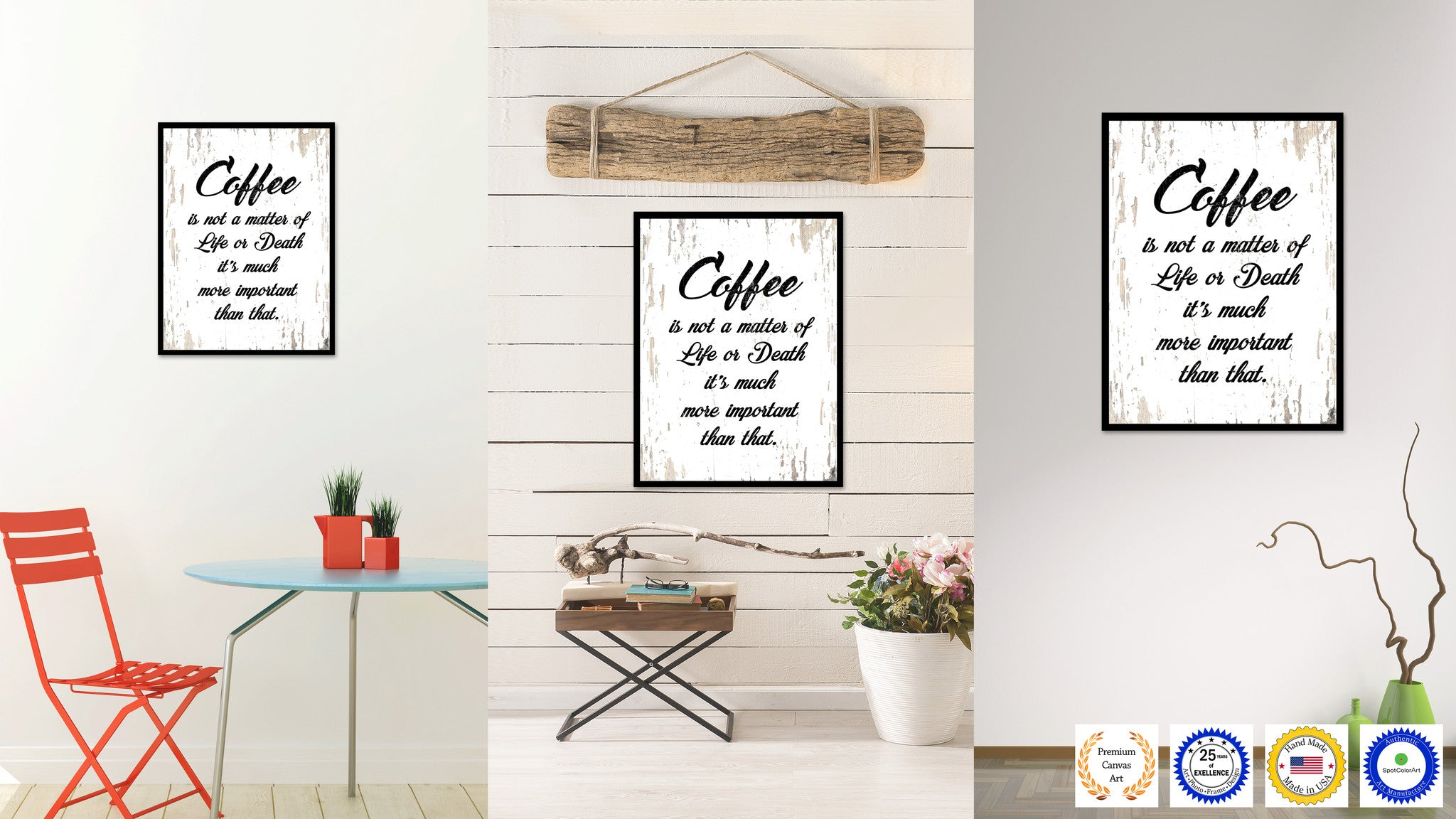 Coffee Is Not a Matter Of Life Or Death It's Much More Important Than That Quote Saying Canvas Print with Picture Frame