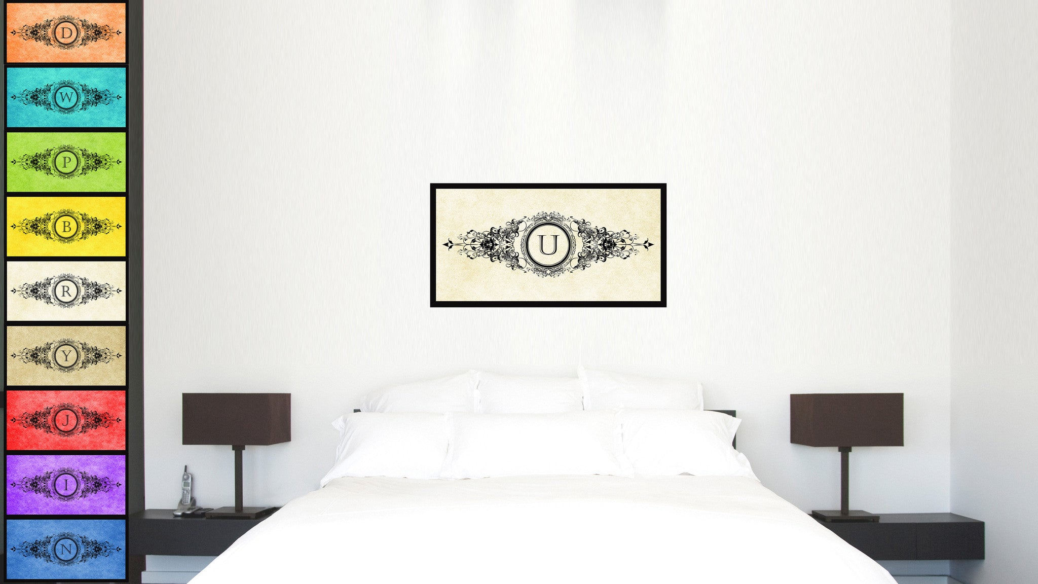 Alphabet Letter U White Canvas Print, Black Custom Frame