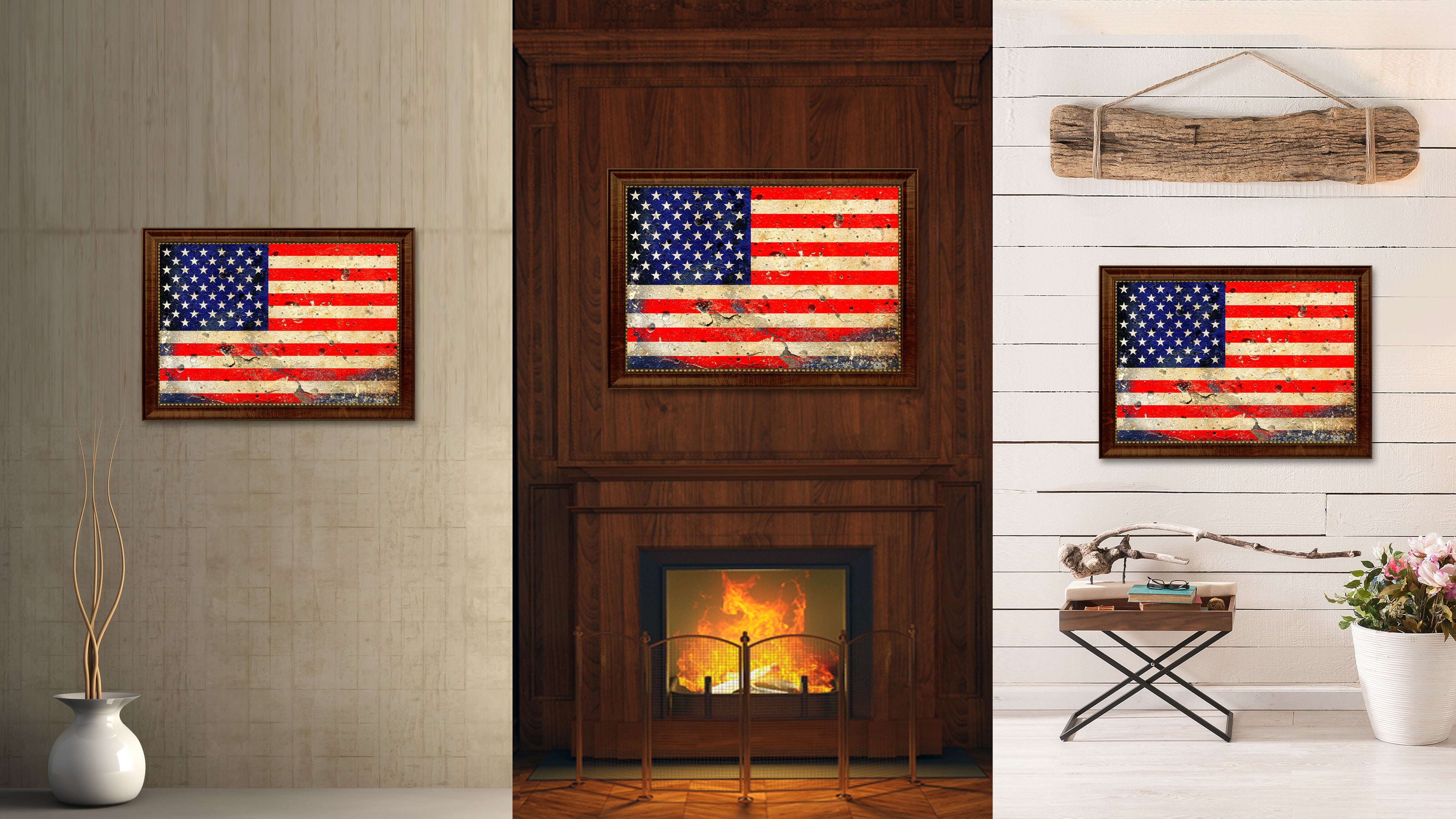 American Flag Vintage USA Canvas Print With Brown Picture Frame Home Decor Man Cave Wall Art