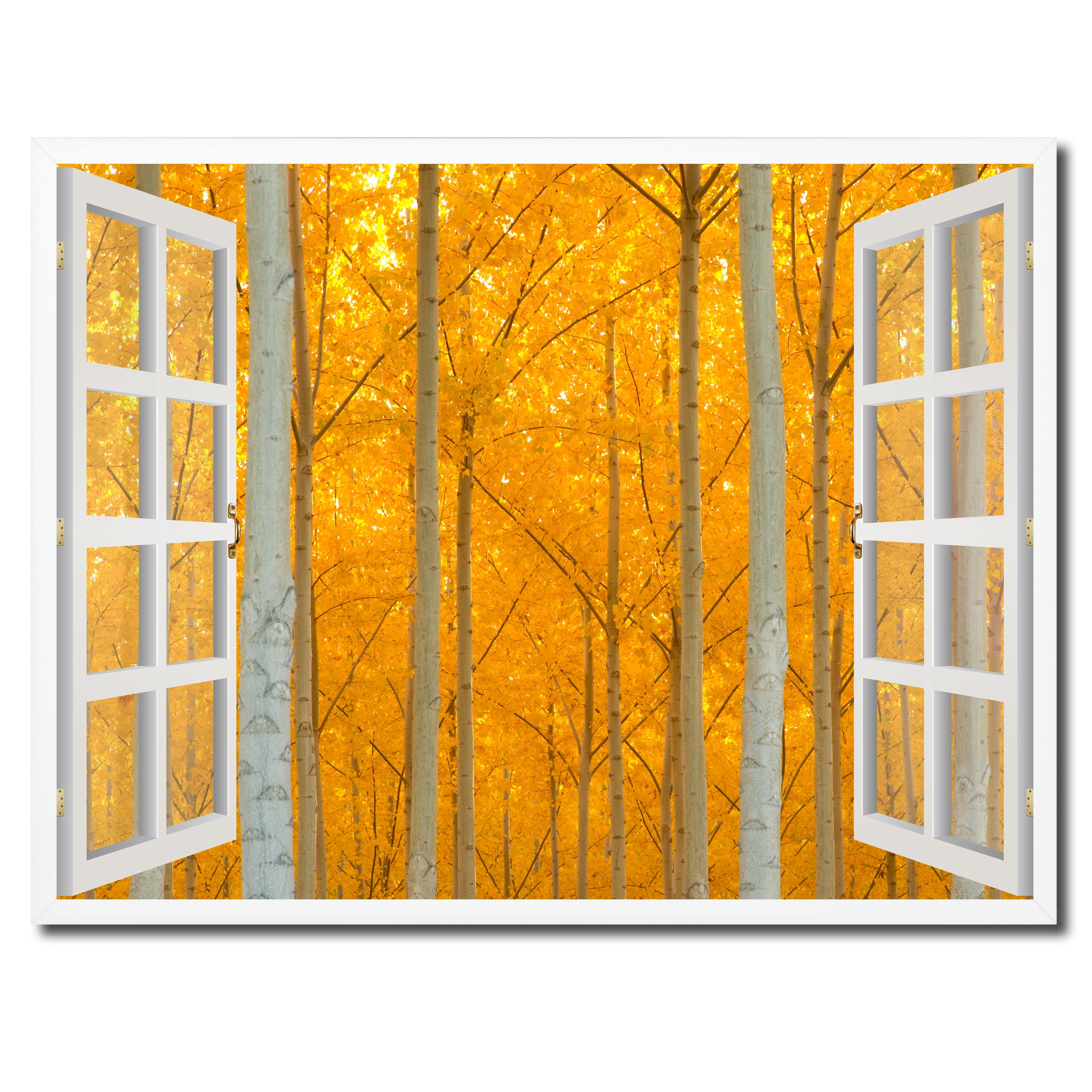 Autumn Yellow Trees Picture Window Wall Art Home Decor Gift Ideas ...