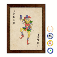 Joker  Poker Decks of Vintage Cards Print on Canvas Brown Custom Framed
