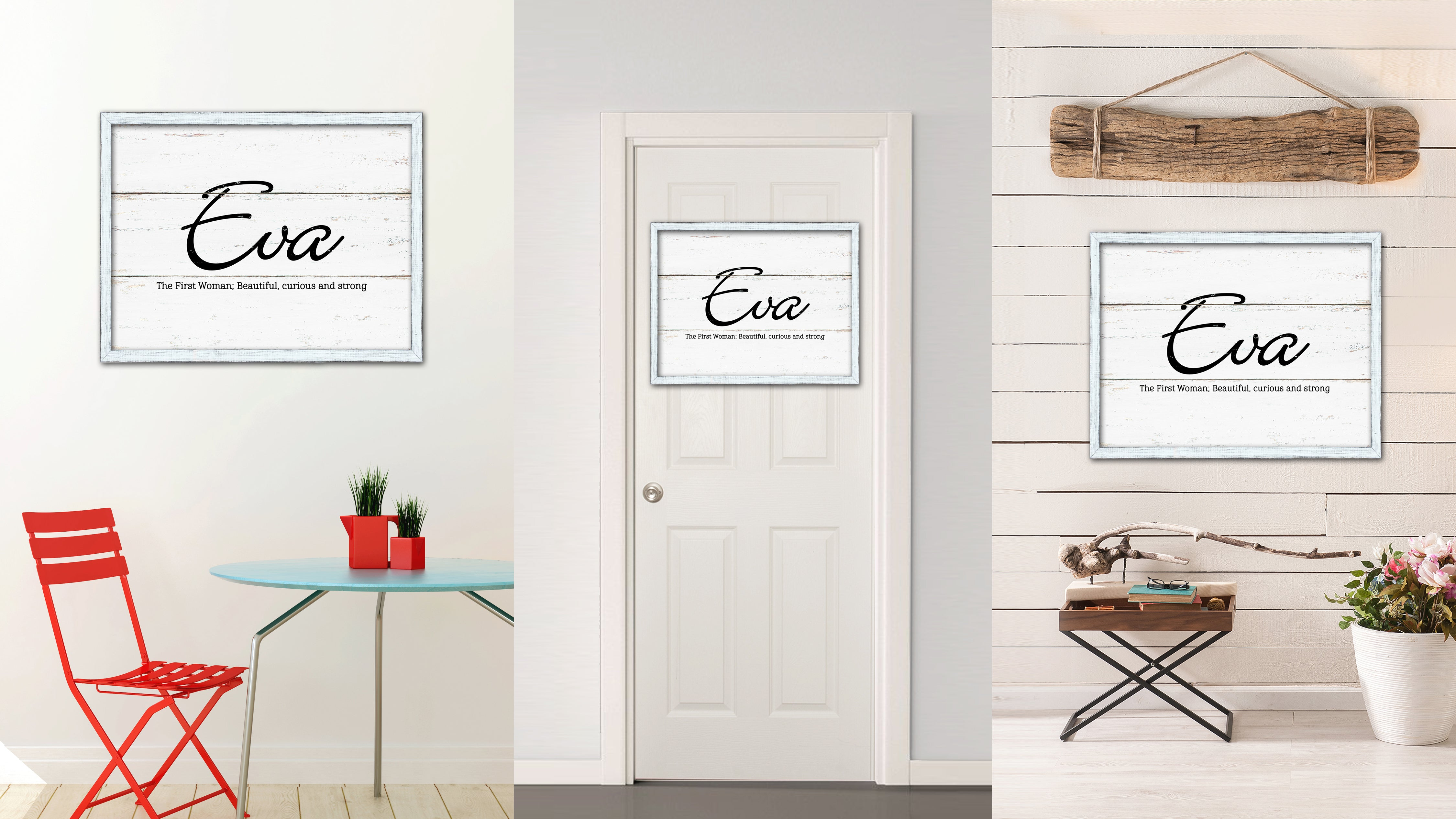 Eva Name Plate White Wash Wood Frame Canvas Print Boutique Cottage Decor Shabby Chic