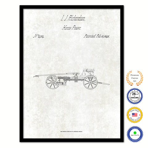 1837 Gun Carriage Old Patent Art Print on Canvas Custom Framed Vintage Home Decor Wall Decoration Great for Gifts