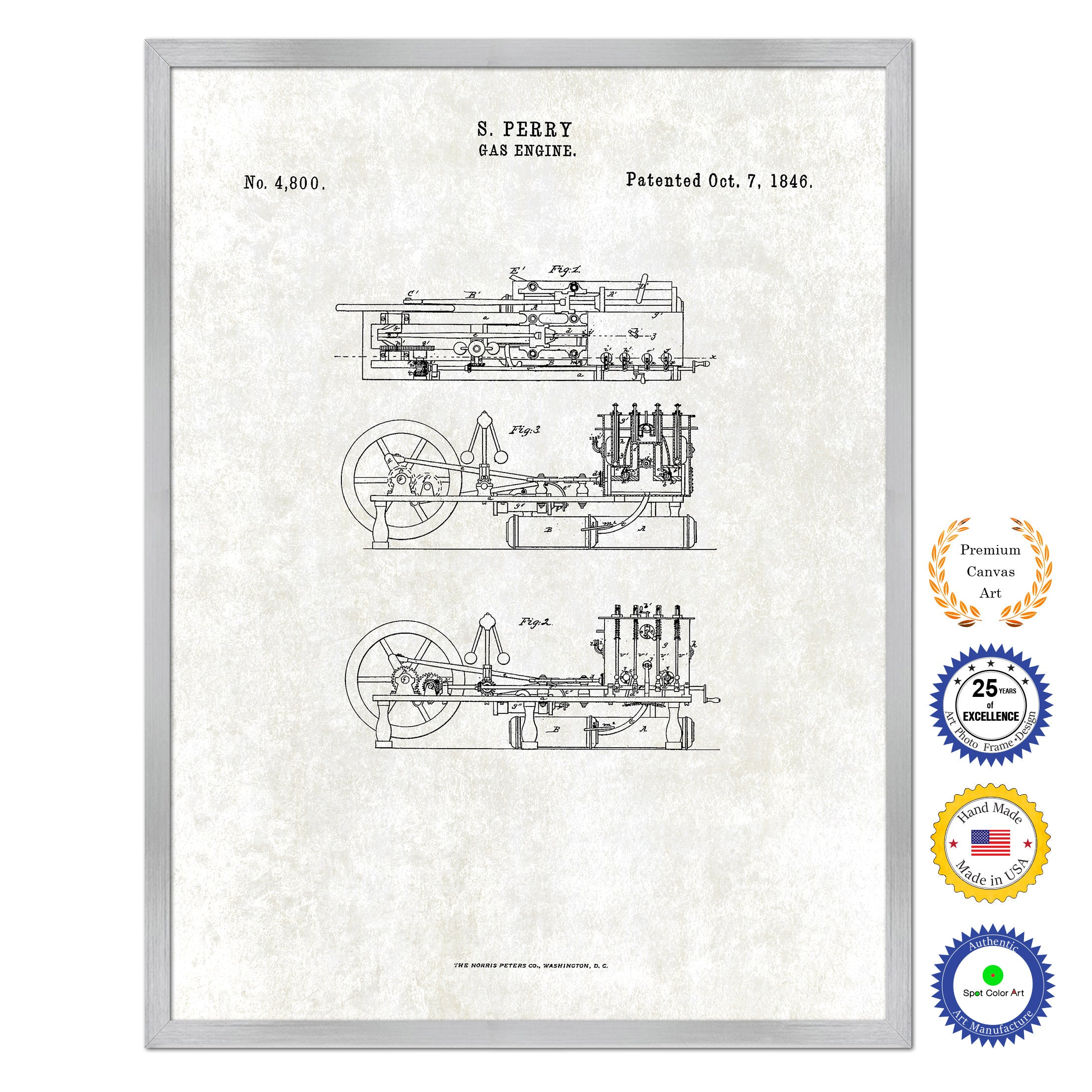 Old Gas Engine Diagram Reinvent Your Wiring Car 1846 Vintage Patent Artwork Silverframed Canvas Print Rh Spotcolorart Com 4