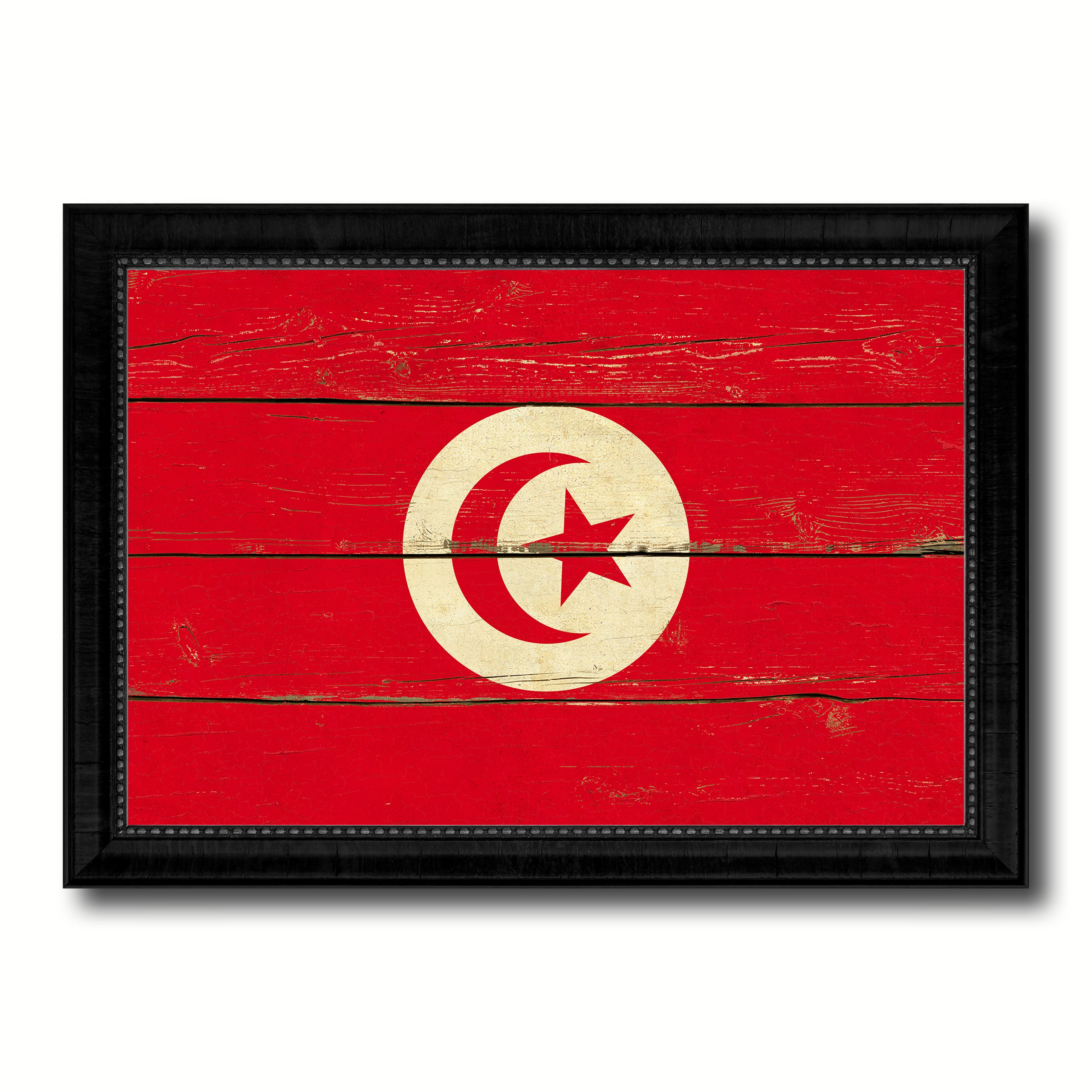Tunisia Country Flag Vintage Canvas Print with Black Picture Frame Home Decor Gifts Wall Art Decoration Artwork
