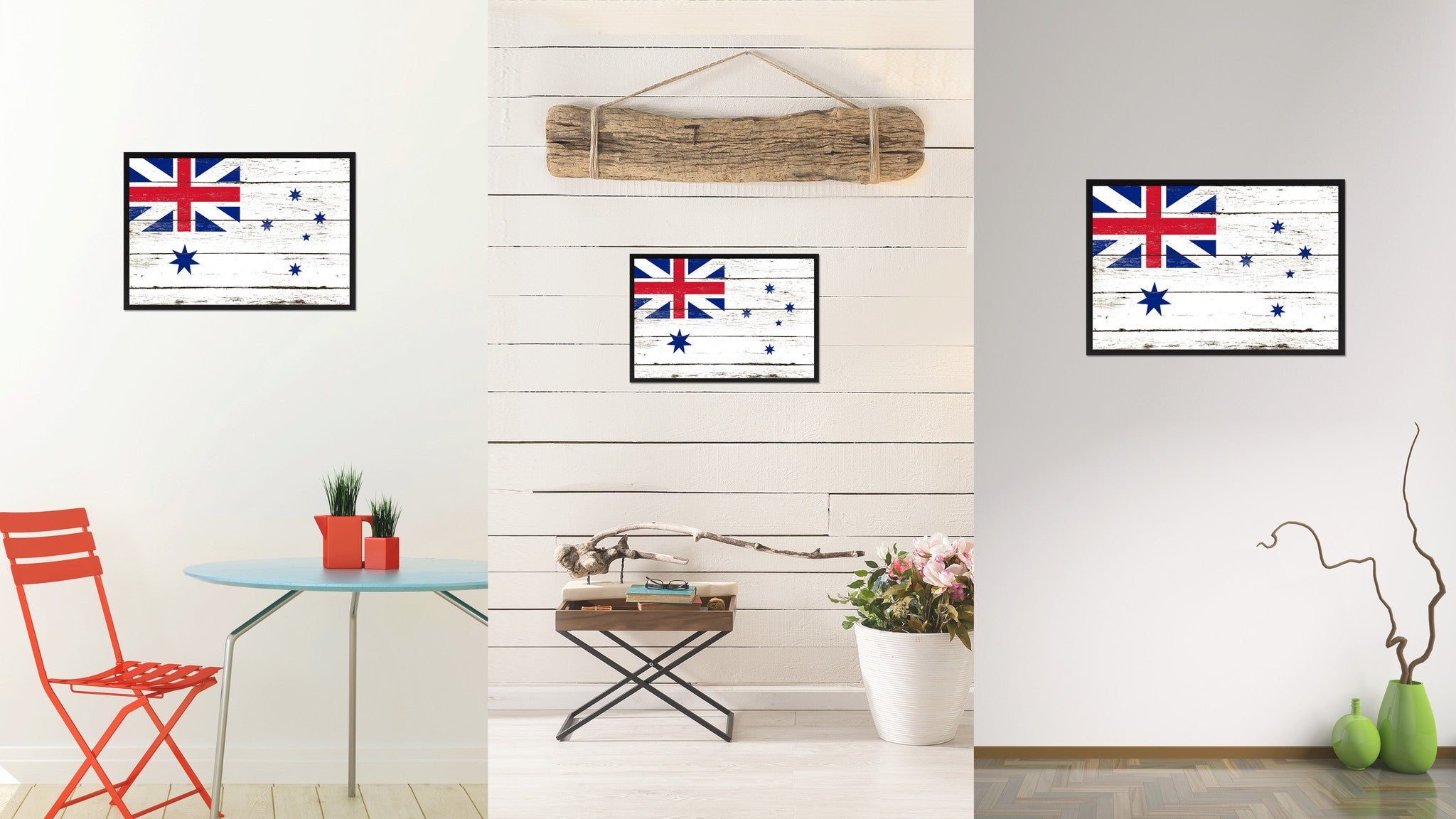 Australian White Ensign City Australia Country Flag Vintage Canvas Print  With Black Picture Frame Home Decor