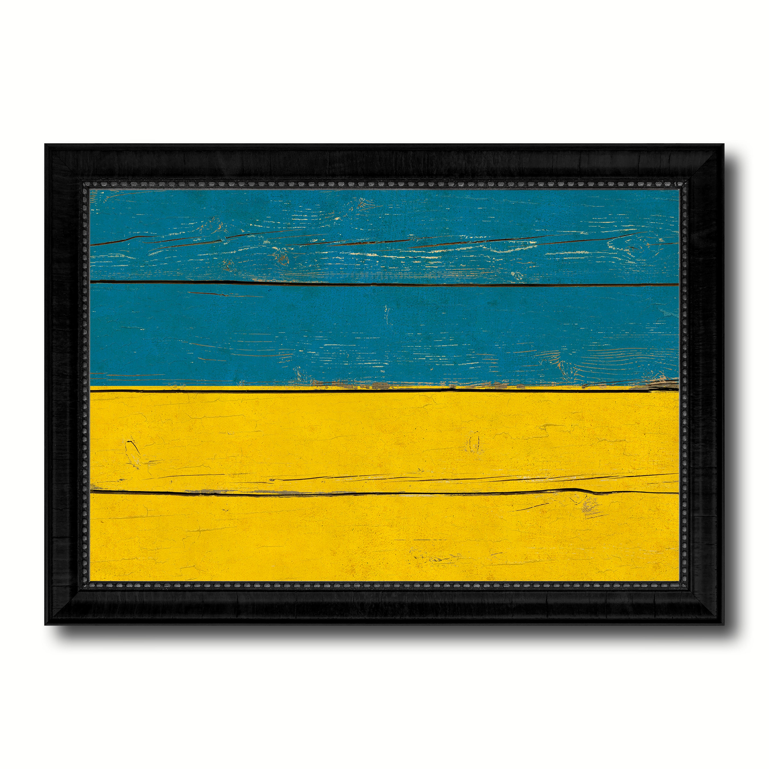 Ukraine Country Flag Vintage Canvas Print with Black Picture Frame Home Decor Gifts Wall Art Decoration Artwork