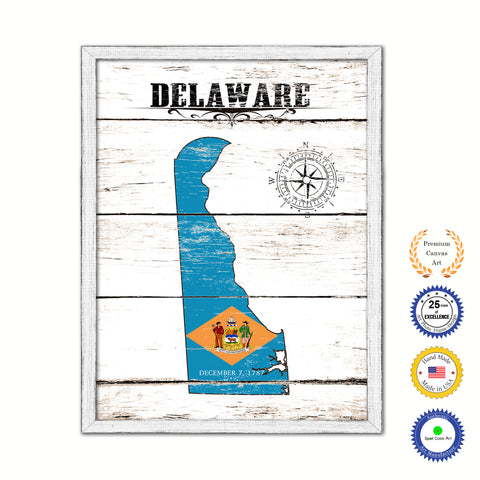 Delaware Flag Gifts Home Decor Wall Art Canvas Print with Custom Picture Frame