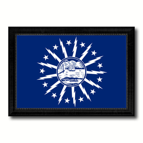 Buffalo City New York State Flag Canvas Print Black Picture Frame