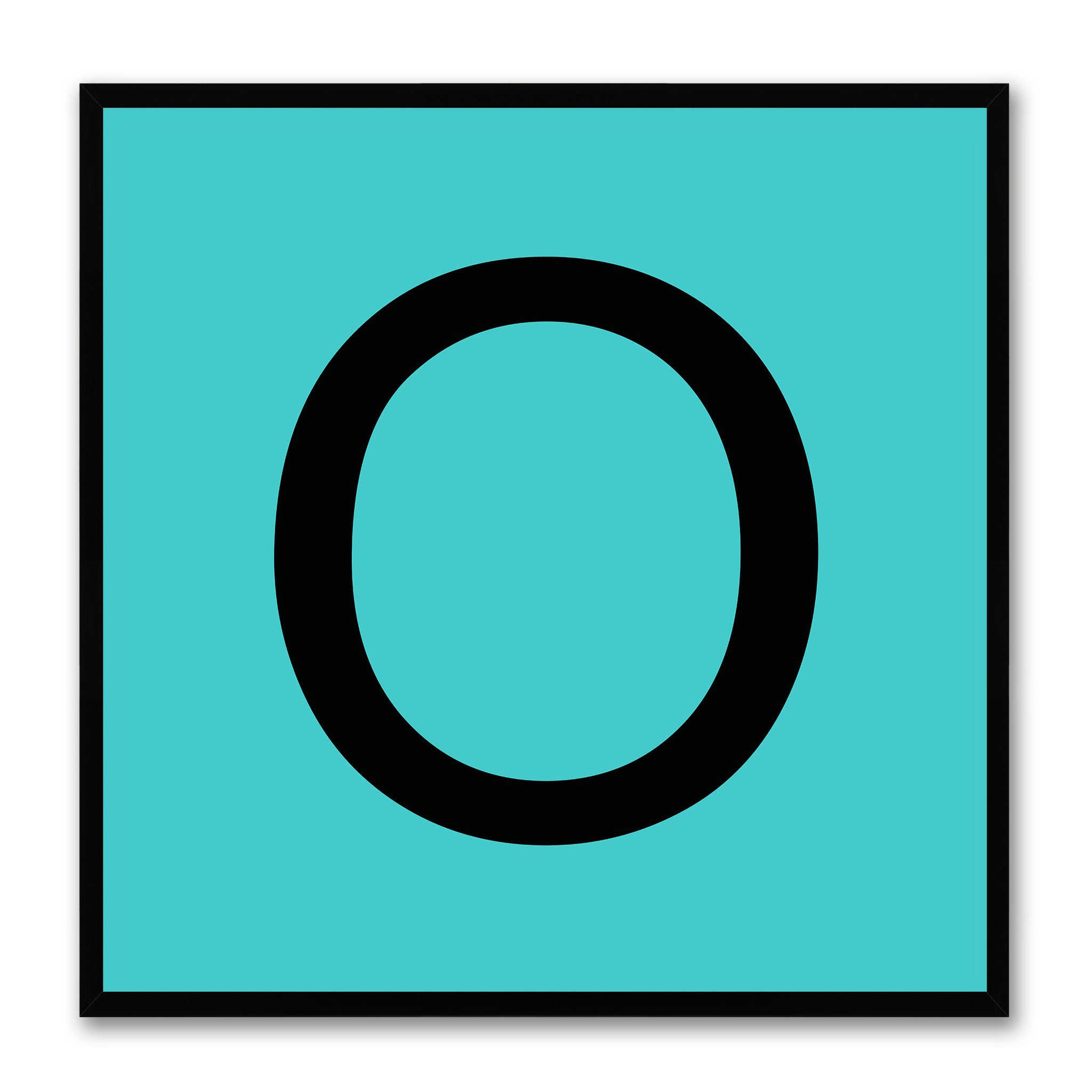 Alphabet O Aqua Canvas Print Black Frame Kids Bedroom Wall Décor Home Art