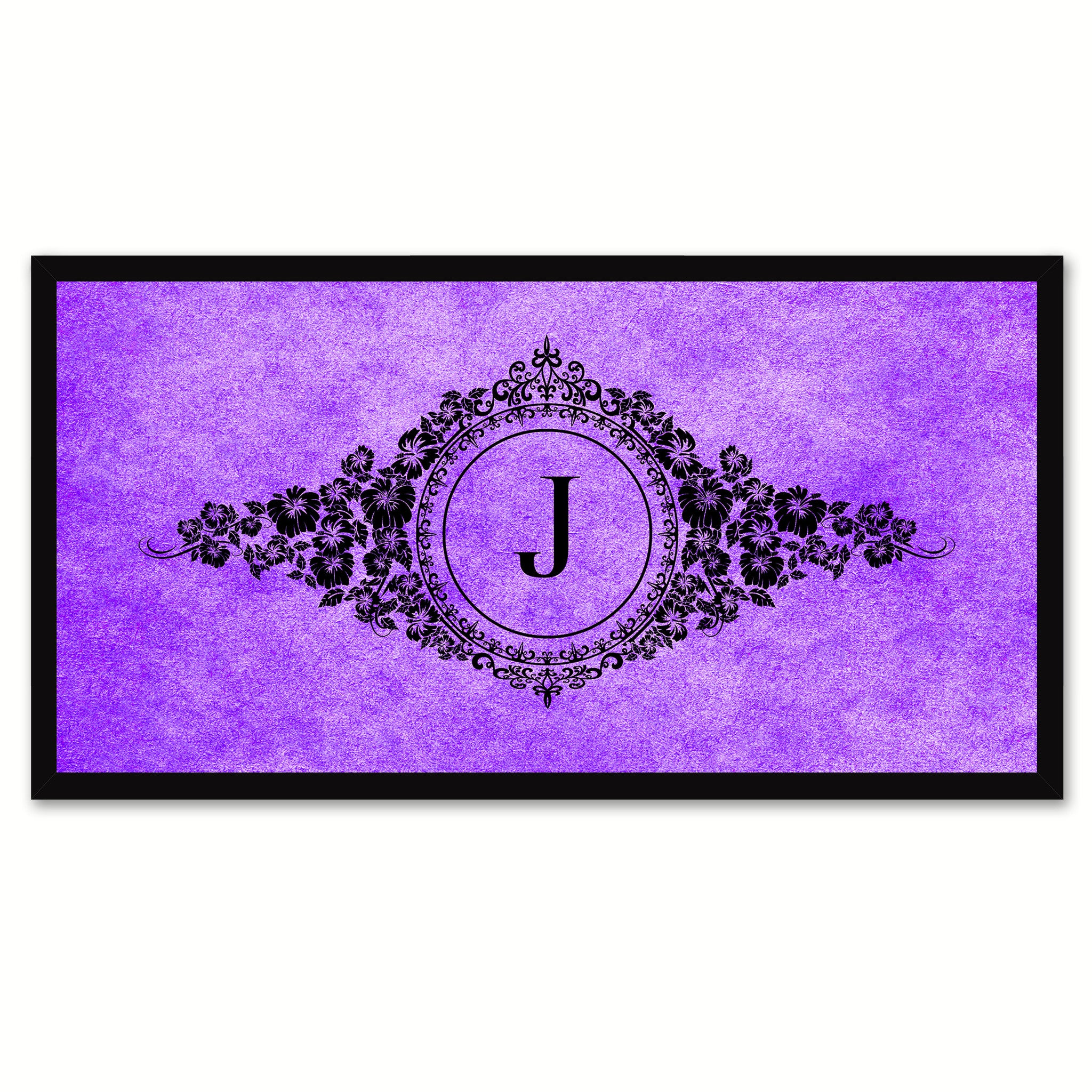 Alphabet Letter J Purple Canvas Print, Black Custom Frame