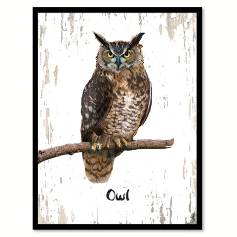 Owl Bird Canvas Print, Black Picture Frame Gift Ideas Home Decor Wall Art Decoration