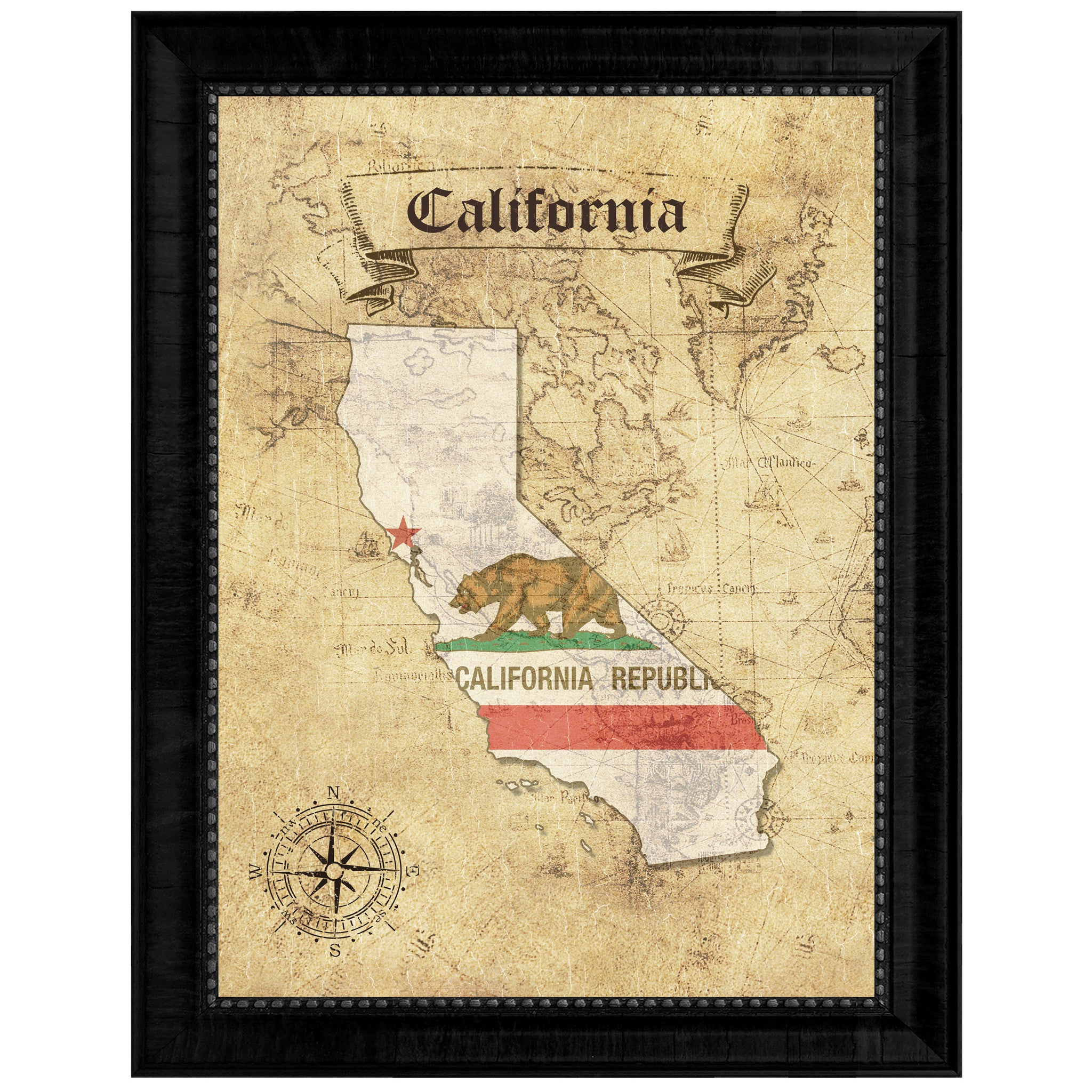 California State Vintage Map Art Office Wall Home Decor Rustic Gift ...