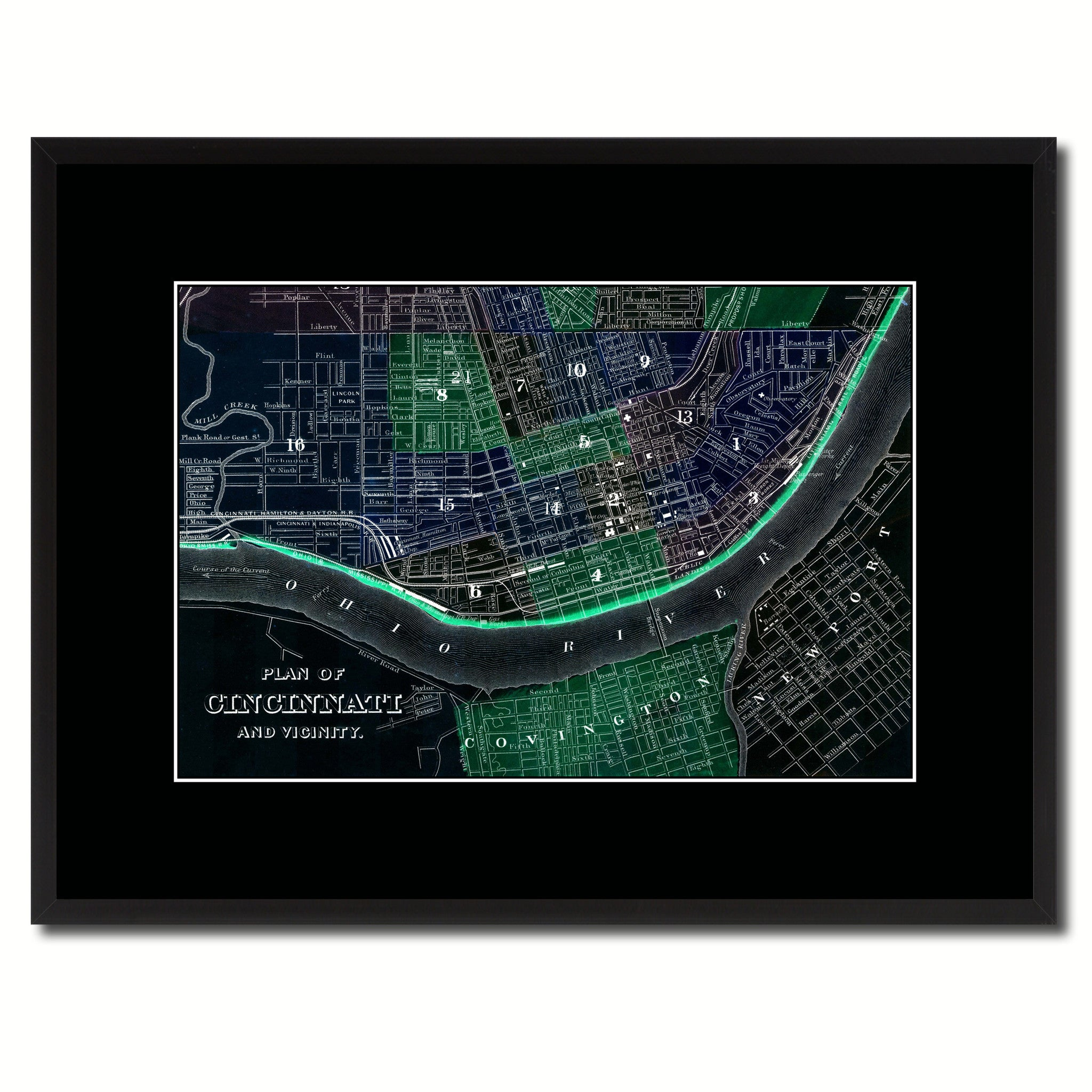 Cincinnati Vintage Vivid Color Map Canvas Print, Picture Frame Home Decor Wall Art Office Decoration Gift Ideas