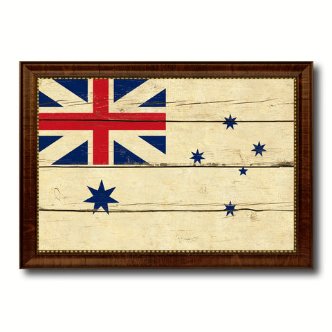 Australian White Ensign City Australia Country Vintage Flag Canvas Print Brown Picture Frame