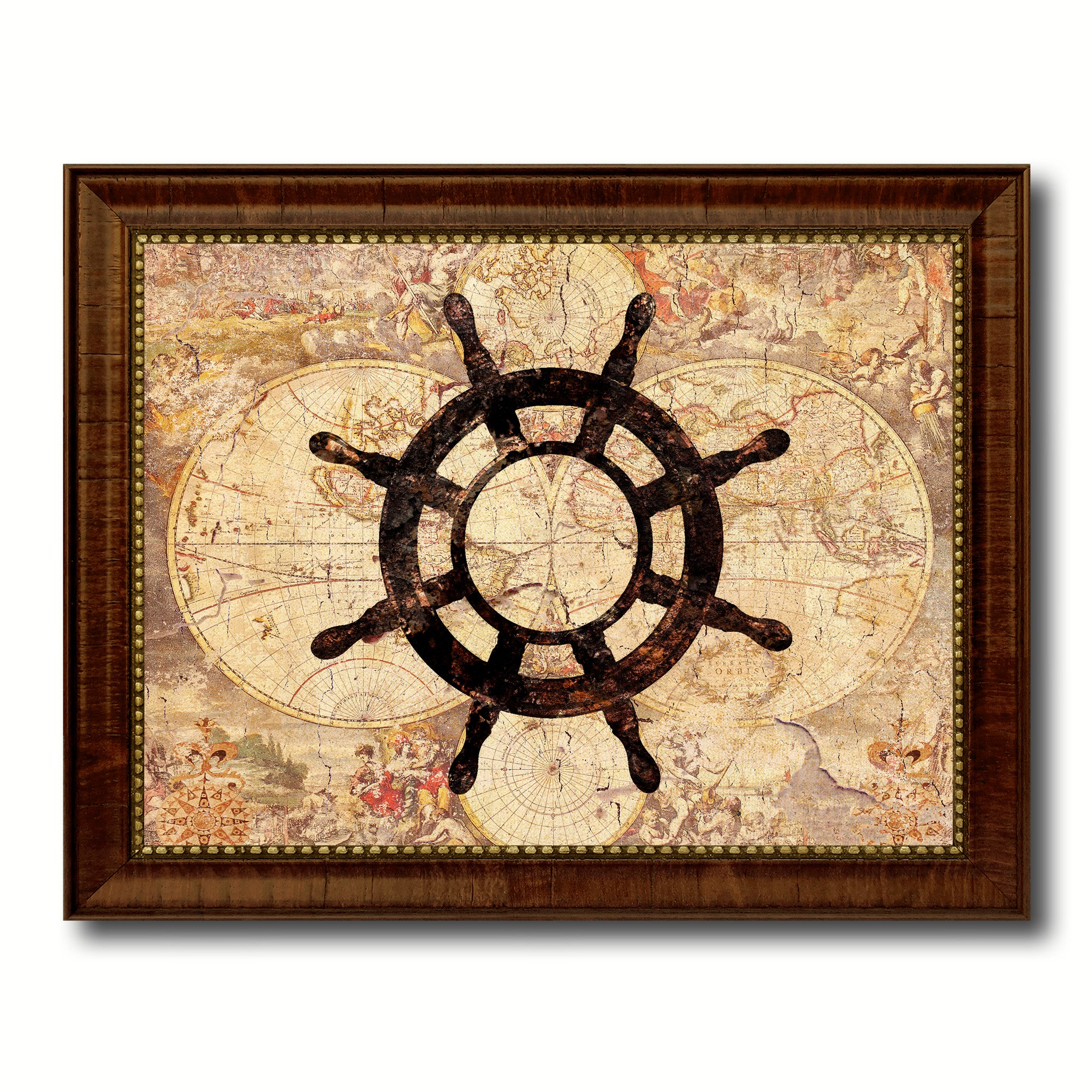 Wheel Vintage Nautical Map Home Decor Wall Art Livingroom Decoration