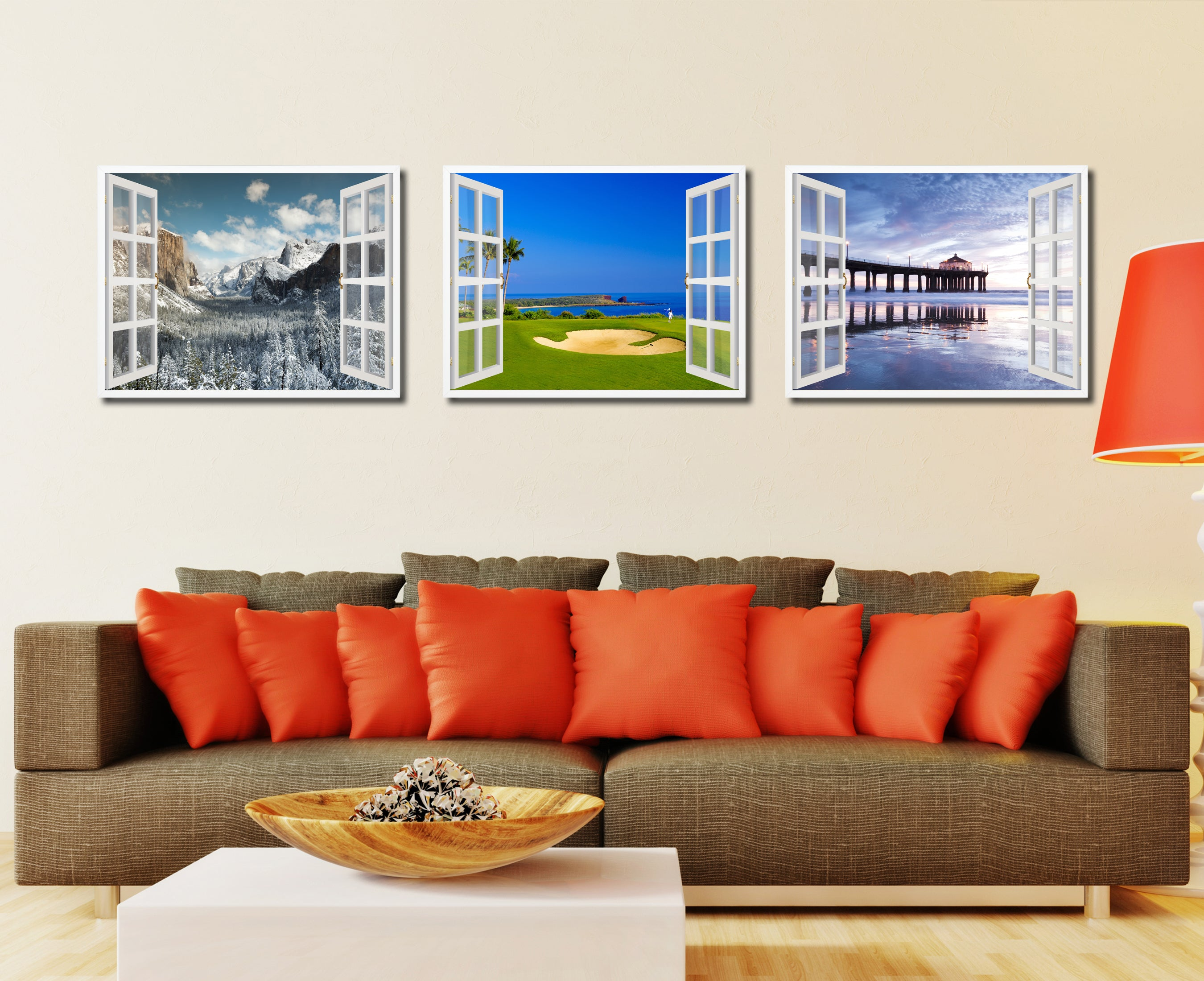 Coastal Golf Course Picture French Window Framed Canvas Print Home Decor Wall Art Collection
