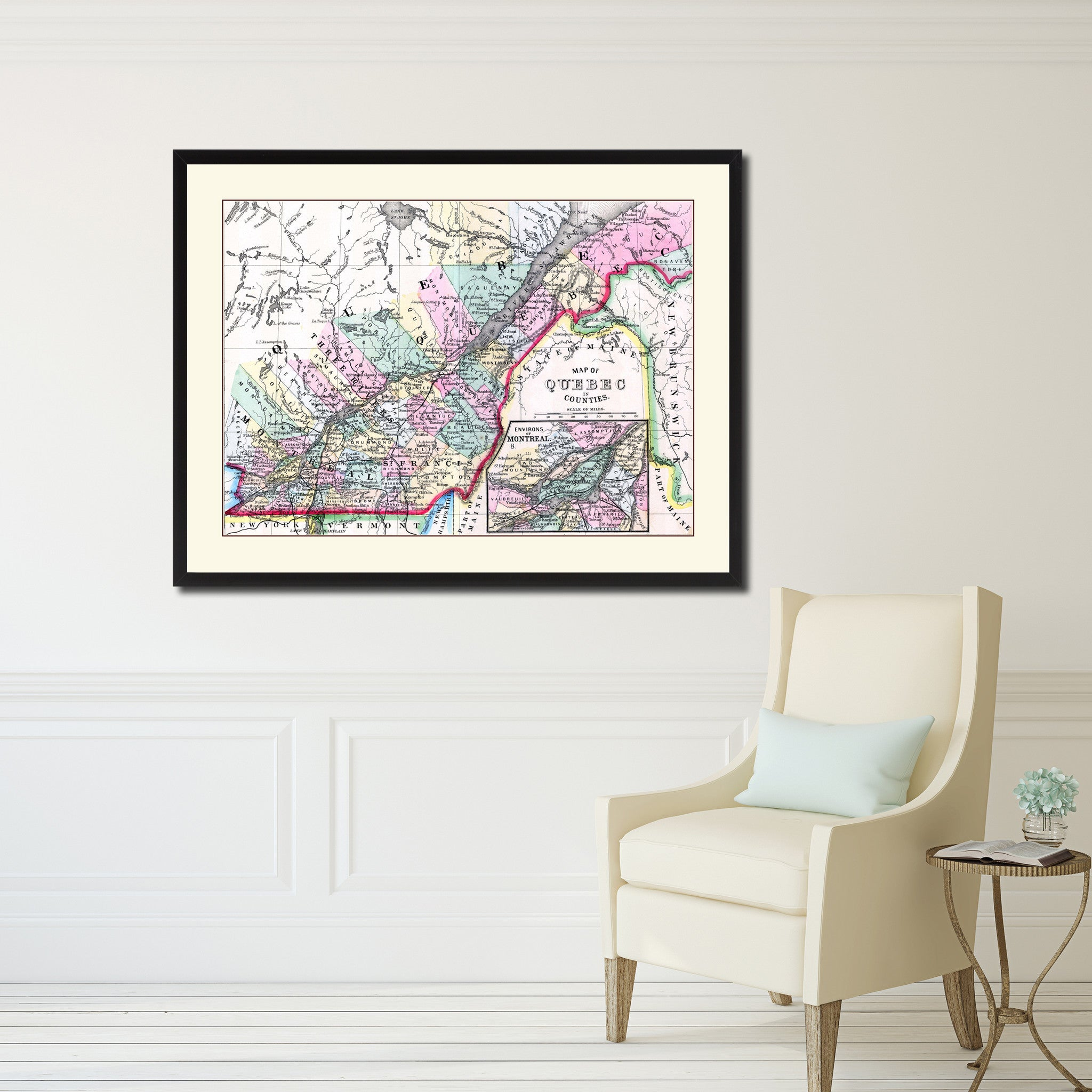 Quebec montreal vintage antique map wall art bedroom home decor quebec  montreal vintage antique map wall