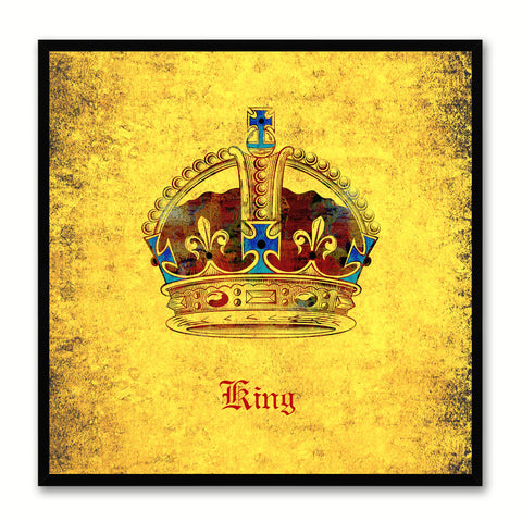 King Yellow Canvas Print Black Frame Kids Bedroom Wall Home Décor