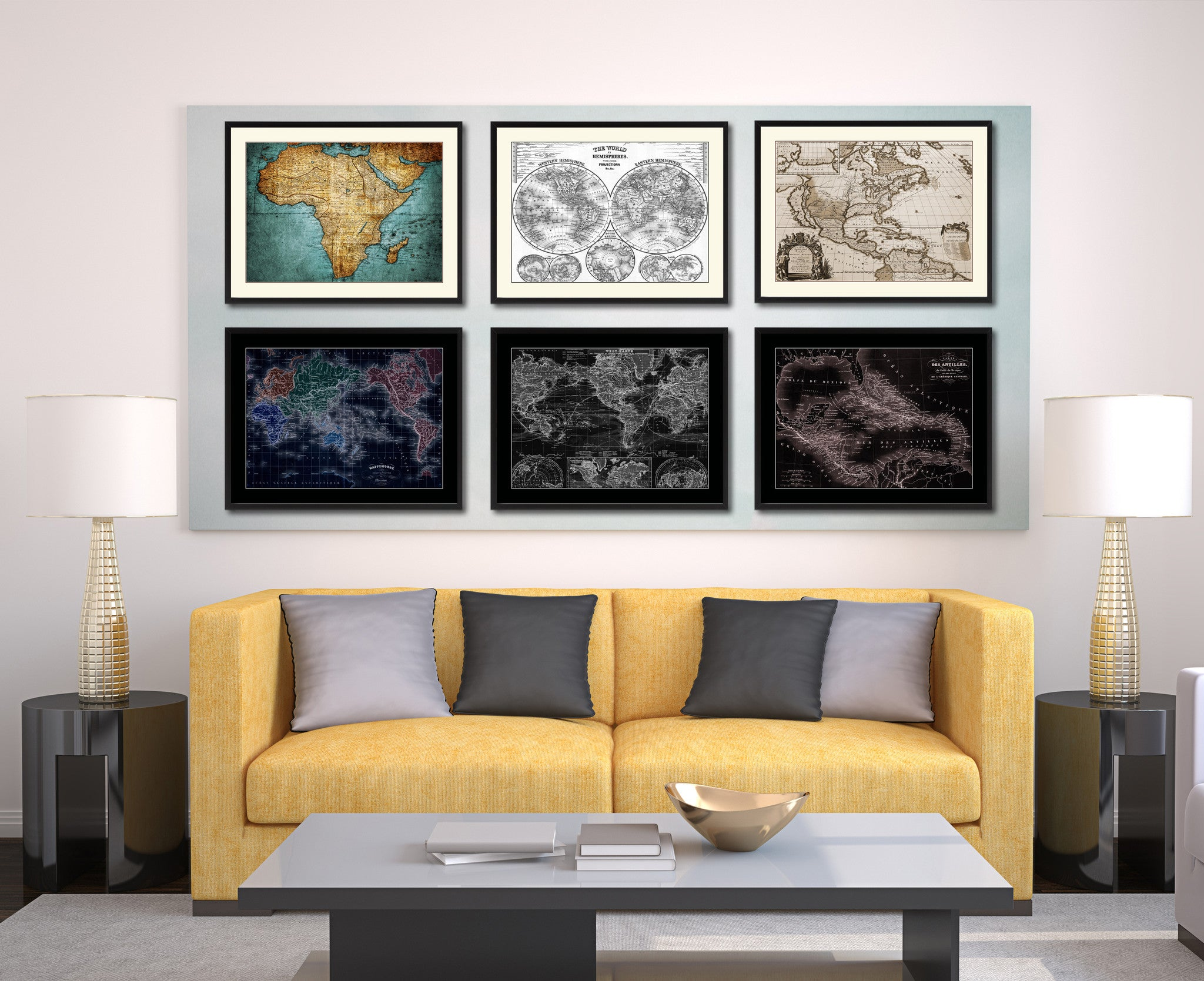 West Indies Caribbean Vintage Vivid Sepia Map Canvas Print, Picture Frames Home Decor Wall Art Decoration Gifts
