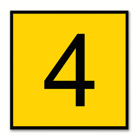Number 4 Yellow Canvas Print Black Frame Kids Bedroom Wall Décor Home Art