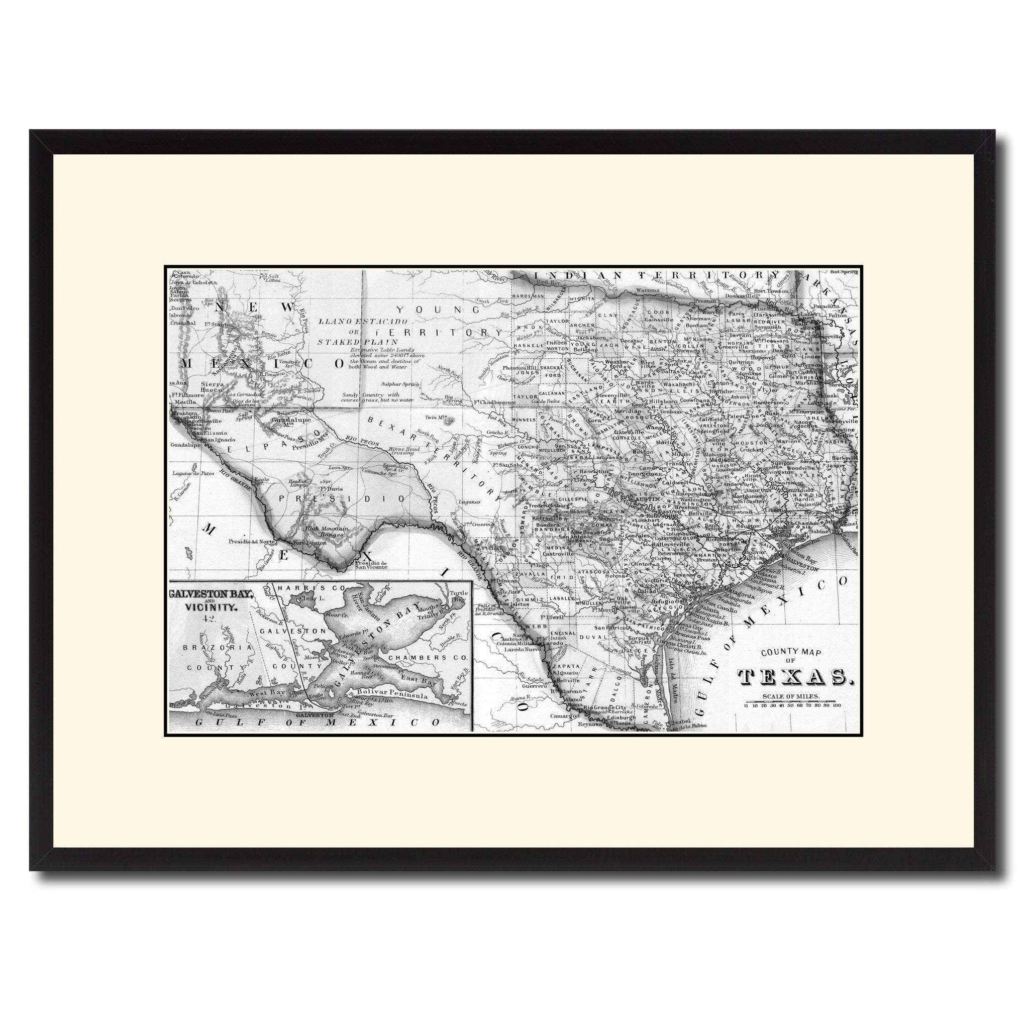 Texas Vintage B W Map Canvas Print Picture Frame Home