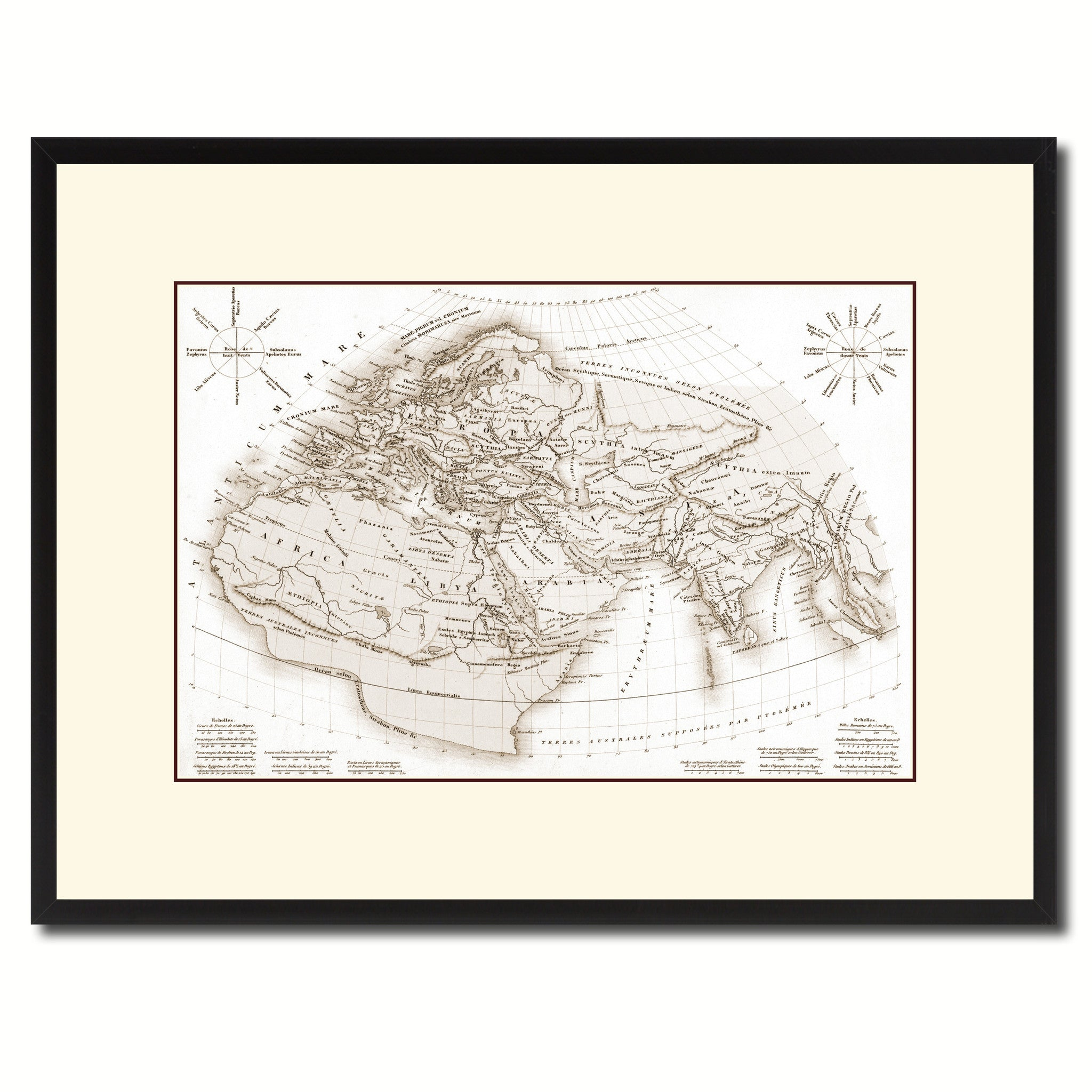 World In The Time Of Ptolomy Vintage Sepia Map Home Decor Wall Art ...