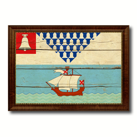 Belfast City Maine State Vintage Flag Canvas Print Brown Picture Frame