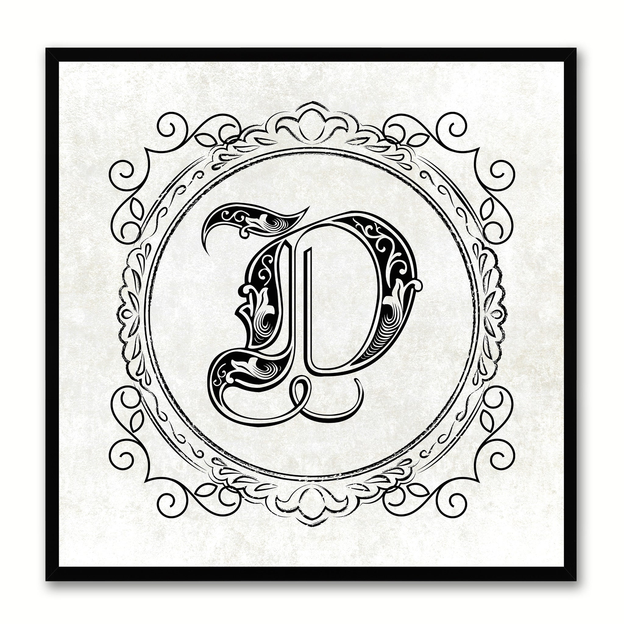 Alphabet Letter Initial Typography Kids Bedroom Wall Art Home