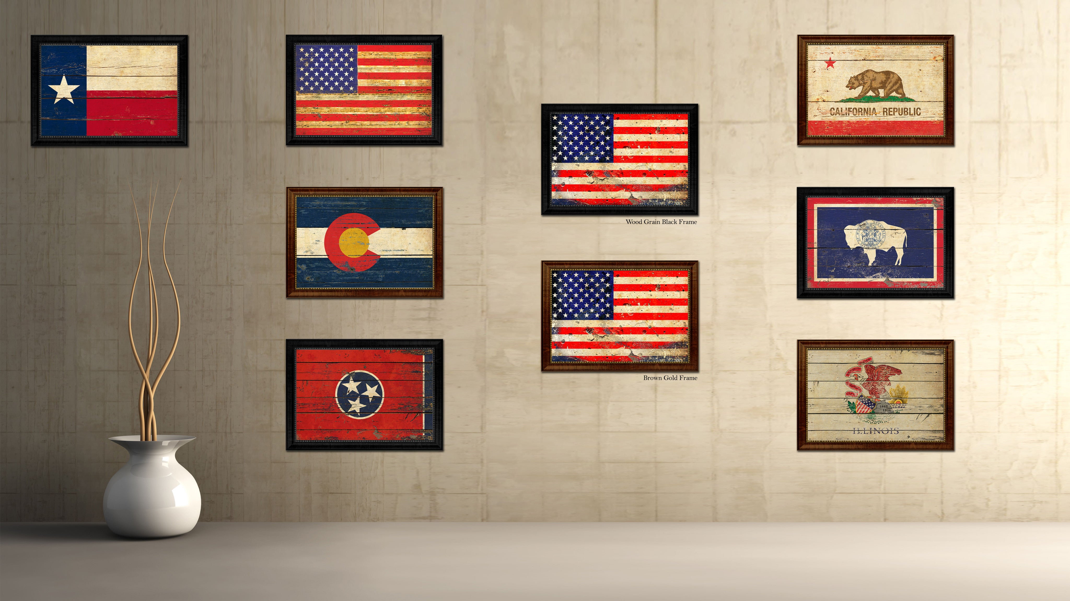 American Flag Vintage USA Canvas Print with Black Picture Frame Home Decor Man Cave Wall Art Collectible Decoration Artwork Gifts