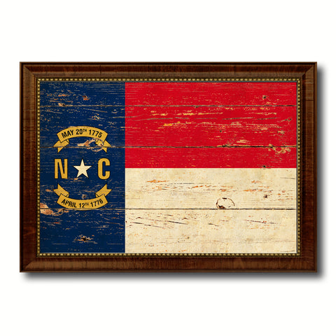 North Carolina State Vintage Flag Canvas Print with Brown Picture Frame Home Decor Man Cave Wall Art Collectible Decoration Artwork Gifts