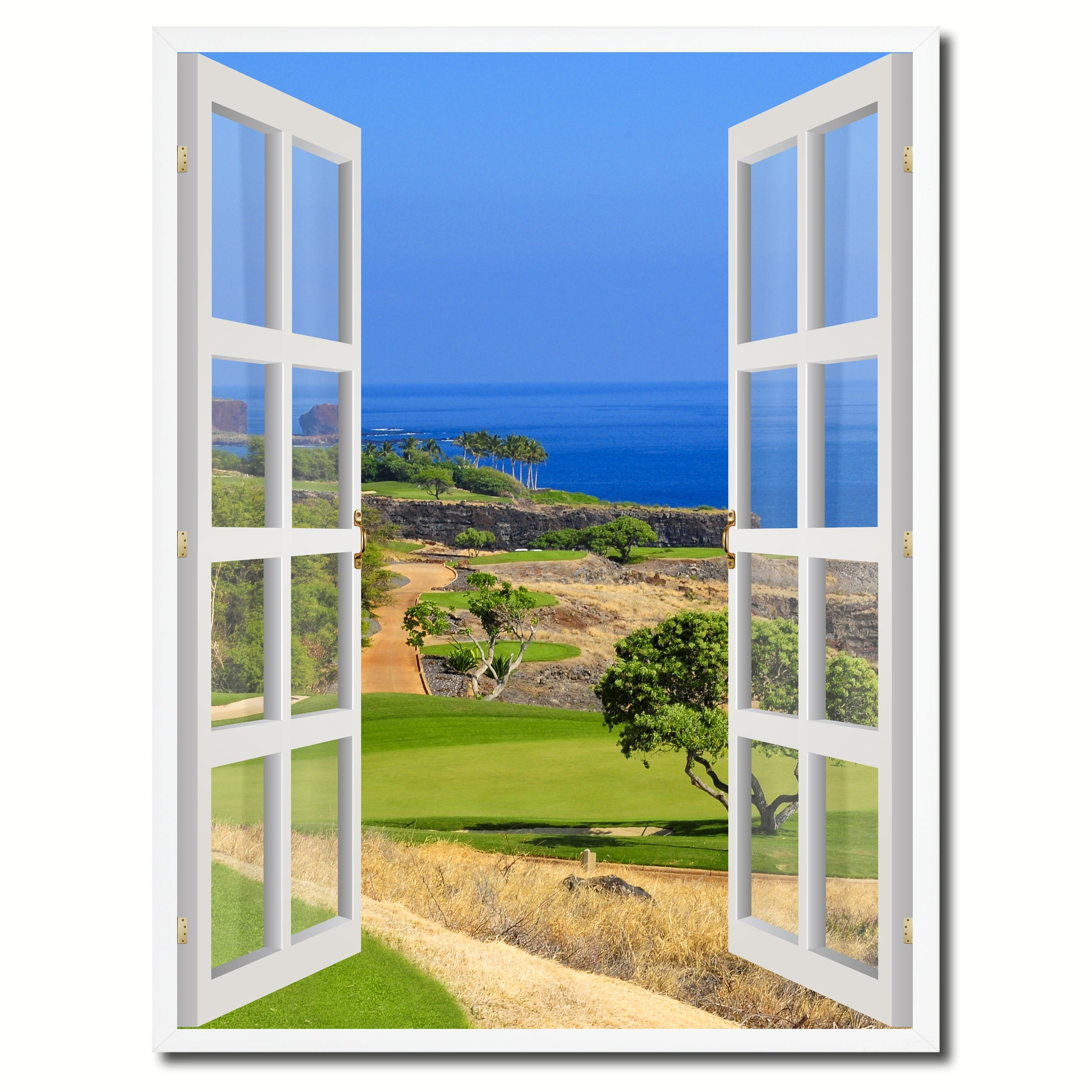Coastal Golf Course View Picture French Window Canvas Print with Frame Gifts Home Decor Wall Art Collection