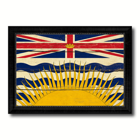 British Columbia Province City Canada Country Vintage Flag Canvas Print Black Picture Frame